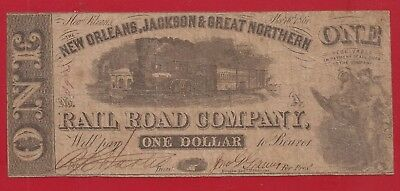 1861 Civil War Era New Orleans Jackson Rail Road $1 Obsolete Note,Fine,Nice!
