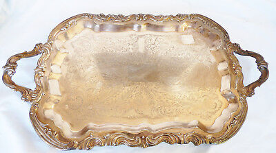 """Antique FB Rogers silverplate Footed Waiter Battler Tray 24"""" Lady Margaret 6377"""