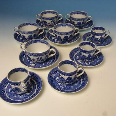 Ridgway England Semi-China Blue Willow - 5 Bouillon, 4 Demitasse Cups & Saucers
