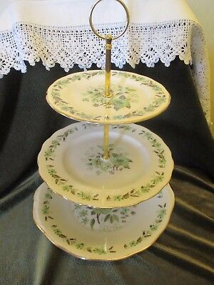 Lovely Vintage Colclough China Plated 3 Tier Cake Stand 'sedgley'