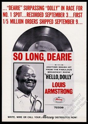 1964 Louis Armstrong photo Hello Dolly record release vintage trade print ad