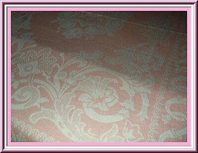Stunning Vintage Pink & White Woven Bedspread With Lovely Floral Design