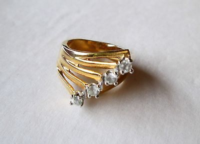 Vintage 14K GE Gold Plated Ladies Dinner Ring Linear Stacked Crystals Sz 6 1/2