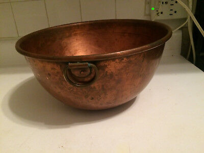 Vintage Large and heavy 10'' diameter Copper Solid Mixing Bowl