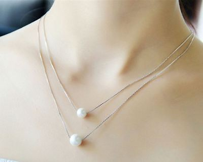 Pearl Necklace Pendant Chain Layered 925 Sterling Silver Womens Jewellery Gift