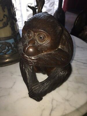 Vintage asian carved wood monkey Iwazaru signed by artist Japan