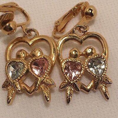 Vintage/retro *avon* Rhinestone Love Birds Heart Shaped Clip Backed Earrings!