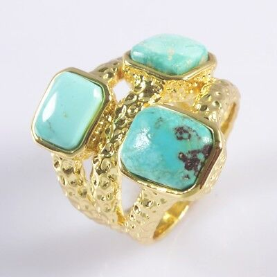 Size 7.5 Natural Genuine Turquoise Bezel Ring Gold Plated B049922