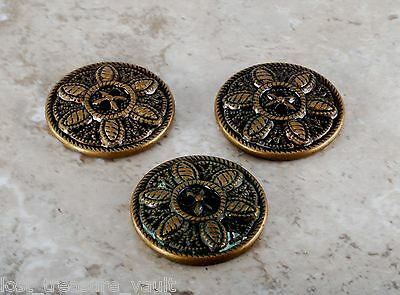 Antique VTG Sewing Buttons Brass Tone Metal Cocoon Filigree Estate Lot of 3