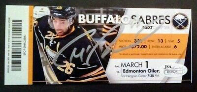 Connor Mcdavid Autographed Full Ticket Vs Eichel Jsa Authentic Rc Oilers Sabres