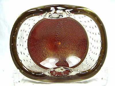 Beautiful / schöne Murano glass bowl / Glas Schale goldfoil & airbubbles 1085 Gr
