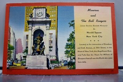 New York NY NYC Herald Square Bell Ringers Minerva Postcard Old Vintage Card PC