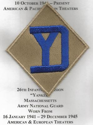 WW 2 US Army 26th Infantry Division Twill Patch Inv# JR192