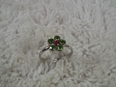 Silvertone Green Pink Rhinestone Flower Ring - Adjustable Size 5.5-6.5  (C66)