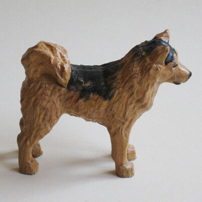 Dog Figurine Siberian Husky Carved Wood Painted