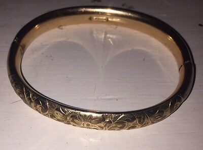 Vintage 1/10 GF  GLP co Gold Etched Bangle Bracelet  Marked Hinged - 18 Grams