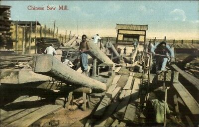 Chinese Saw Mill China Labor - Publ in Shanghai c1910 Postcard chn