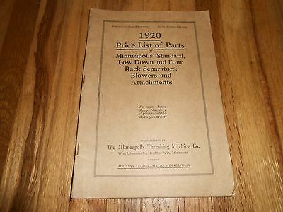 RARE 1920 Minneapolis Threshing Machine Co MM MOLINE PRICE LIST OF PARTS CATALOG