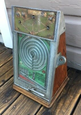 Antique Vintage Coin Op PEO Baseball Trade Stimulator Counter Penny Game