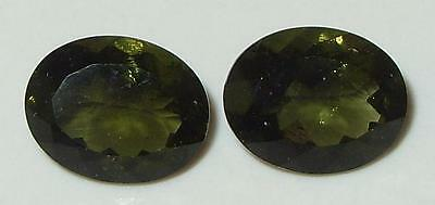 4.22ct Pair Faceted TOP QUALITY Natural Czechoslovakia Moldavite Oval Cut 10x8mm