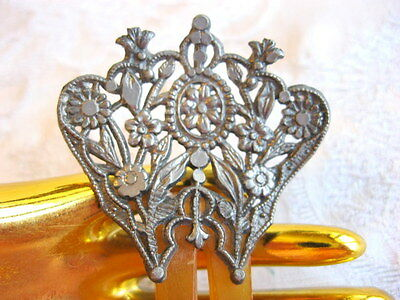 ANTIQUE EARLY 1800's CARVED CLARIFIED HORN HAIR ACCESSORY ADORNMENT FLORAL TOP