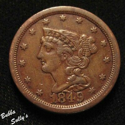 1849 Braided Hair Half Cent <> XF Details