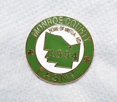 "New York Volunteer Fire Assn Monroe County 1994 Convention 1"" Metal Lapel Pin"