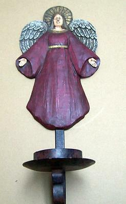 "PRIMITIVE CHRISTMAS Angel Country 18"" IRON RELIGIOUS Pillar Candleholder RUSTIC"