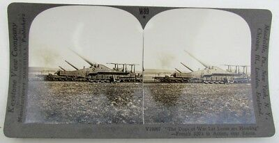 French Huge Railroad Guns Antique Wwi Stereoview Photo