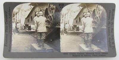 Large French Railway Cannon Antique Wwi Stereoview Photo