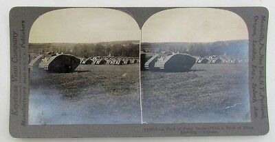 Field Of Forty Tanks Antique Wwi Stereoview Photo