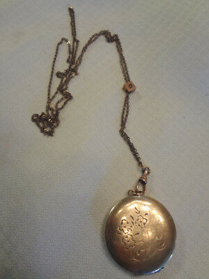 Fabulous Antique Victorian Gold Filled Locket & Seed Pearl Slide Chain