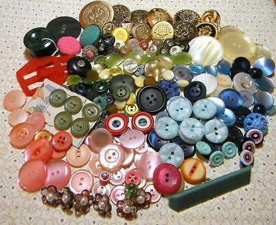 Huge Lot~8.3 Ounces~Buttons & 2 Buckles or Slides~Lot of Color and Variety (M14)