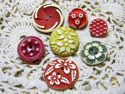 Lot of 7 Antique Vintage Buffed Celluloid Buttons~Red Yellow Green Pink (K57)