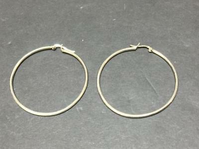 Large Vintage Sterling Silver Hoop Earrings