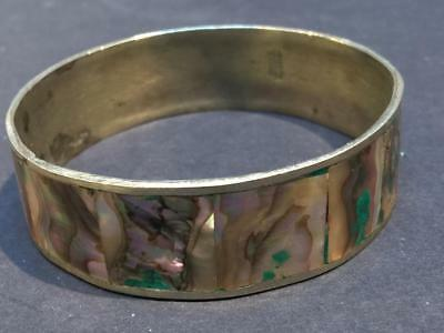 Vintage Mexico Sterling Silver and Abalone Bangle Bracelet