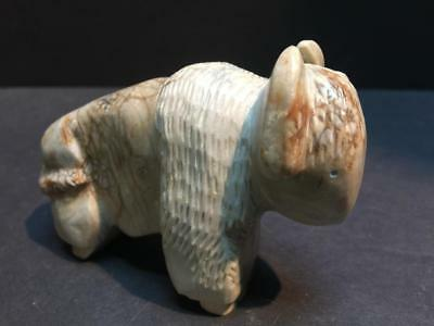 "Vintage Native American Zuni Carved Alabaster Buffalo Figure - 4"" long"