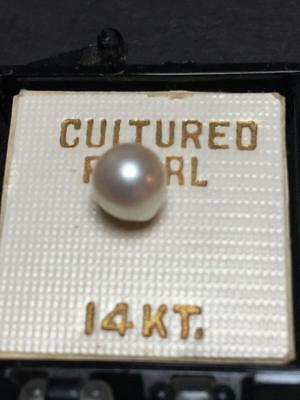 Vintage 14K Gold and Cultured Pearl Stud Earring in Original Box