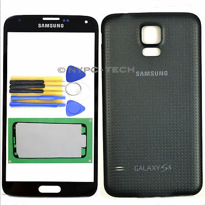 NEW Black Front Outer Glass Screen + Battery Back Cover For Samsung Galaxy S5 US