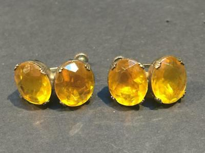 Victorian Era Faceted Amber Glass Screw Back Earrings