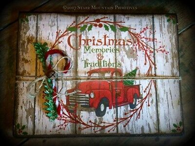 Primitive Christmas Memories Red Pickup Truck Book Memory Journal Cupboard Tuck