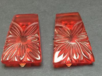 Vintage Carved Translucent Red Bakelite Clip Earrings
