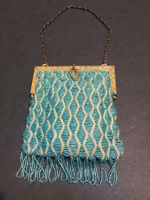 Vintage Art Nouveau Turquoise Glass Beaded Handbag with Gilded Hardware