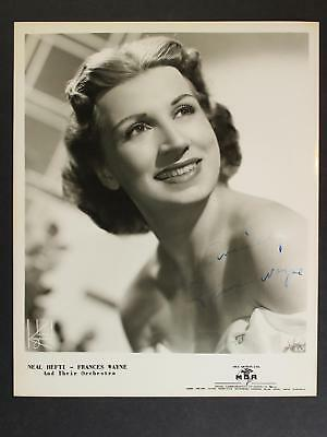 JAZZ SINGER FRANCES WAYNE (1924-1978) AUTOGRAPH 8 x 10 PHOTO~