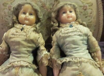 """Antique 18"""" All Original w/Couture Outfits & Mohair  Wigs Twin Wax Lady Dolls"""