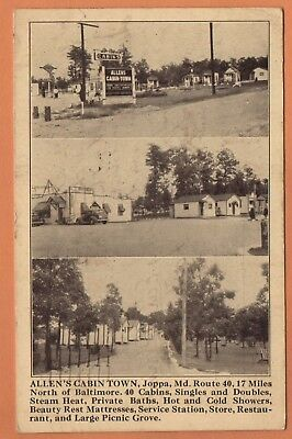 MD Maryland Joppa Route 40 Gas Station Cabin Town Harford County Postcard