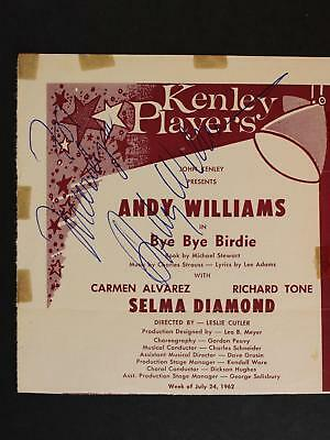 Singer Andy Williams (1927-2012) Autograph Clipped Program Page~