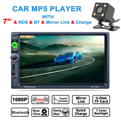 """7"""" Double 2DIN Bluetooth In Dash Touch Car Radio Stereo MP3 Player AUX + Camera"""