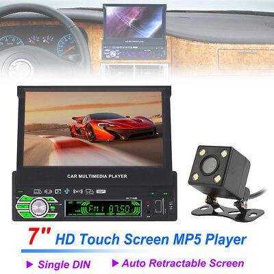 "7"" HD 1Din Retractable Auto Car MP3 Player Stereo BT AUX FM Radio+Parking Camera"