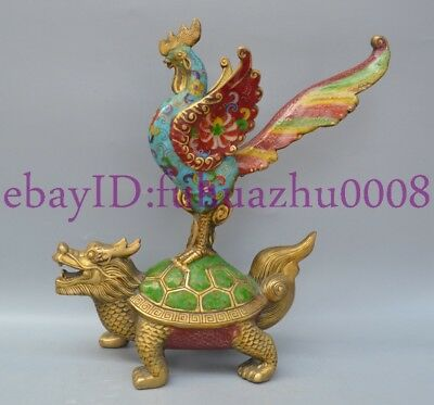 Collectibles Old Decorated Handwork Cloisonne Cock on Tortoise Wonderful Statue